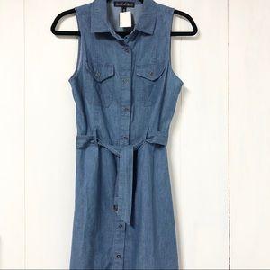 Chambray Belted Sleeveless Dress